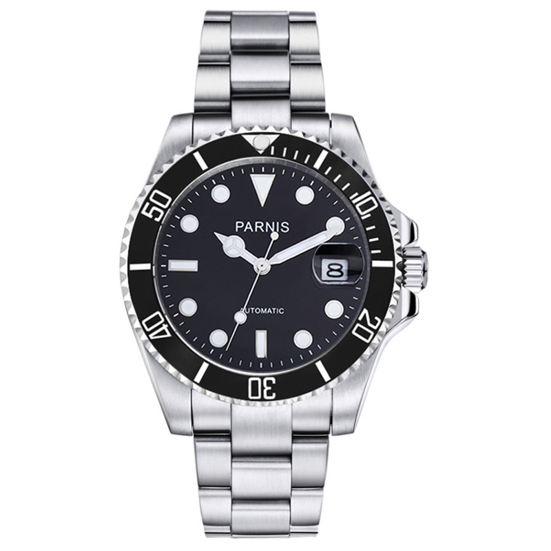 New Parnis 40mm Black Bezel Mens Automatic Mechanical Watch Ceramic Diving <font><b>100m</b></font> Steel Miyota 8215 Movement Men's Watches 2019 image