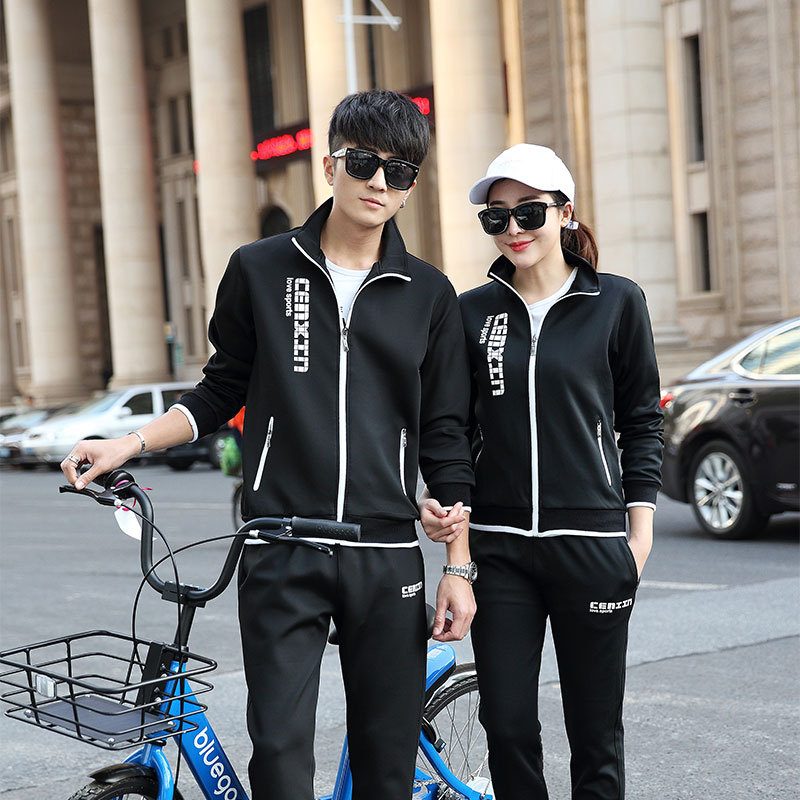 Sports Set Men's Spring And Autumn Women's Long-Sleeve Running Sports Clothing Couples Two-Piece Casual Sweatshirt Cardigan