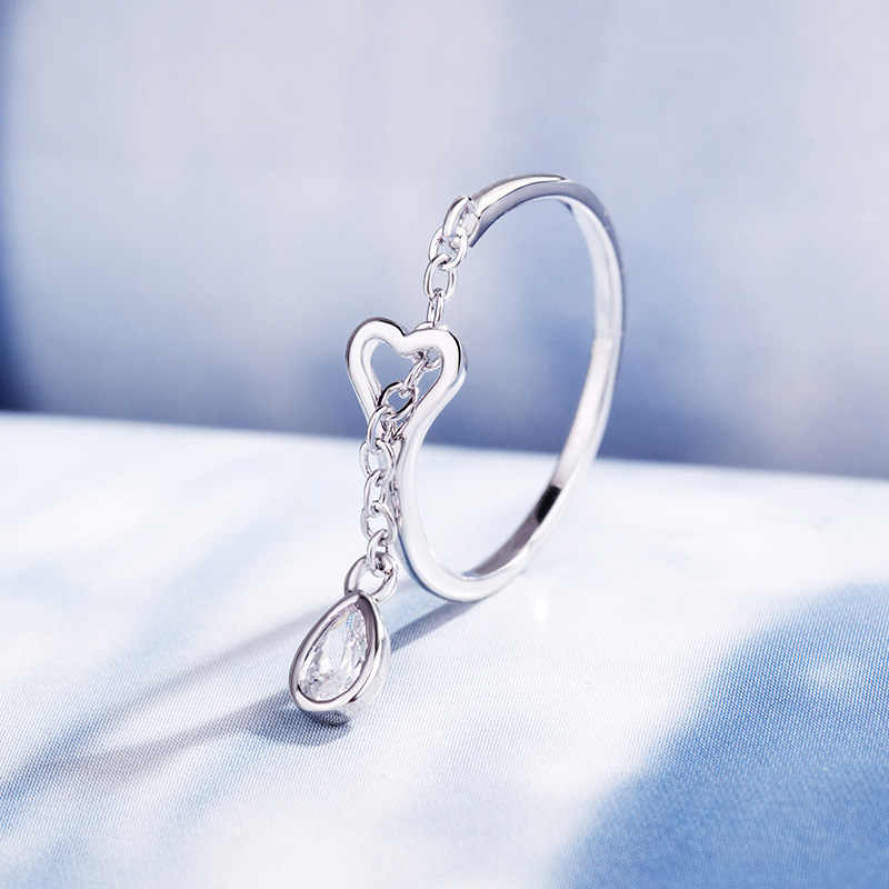LicLiz 2019 ใหม่ 925 เงินสเตอร์ลิงเพชร Zircon Hollow Heart เปิดแหวนน้ำหยดแหวนเครื่องประดับ LR0742