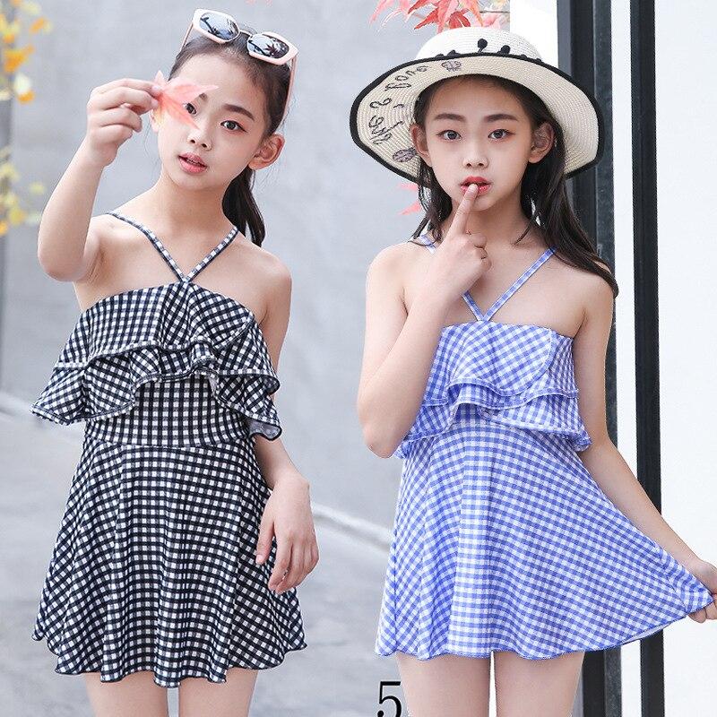 Girl'S Swimsuit Cute Plaid One-piece Big Boy Princess Dress-Swimwear Children Swimsuit Women's Manufacturers Wholesale