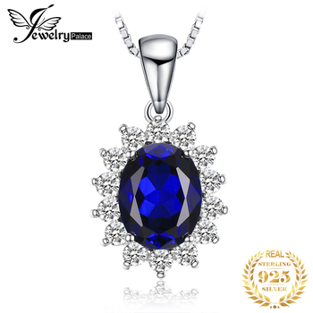 JewelryPalace Created Sapphire Pendant Necklace 925 Sterling Silver Gemstones Choker Statement Women Without Chain