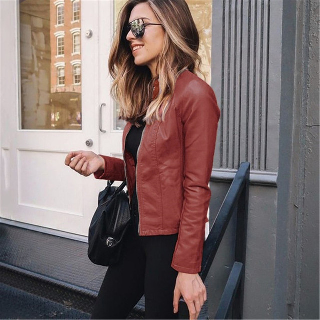 Mulheres outono zíper casual couro do plutônio macio sólido motocicleta jaqueta de couro casaco moda streetwear senhora fino ajuste fino jaqueta