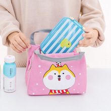 Portable Lunch Bags For Women Kids Girl Cute Thermal Insulated Picnic Lunch Box Bag Pouch With Animal Pattern Large Lunch Tote ladylike women s tote bag with animal pattern and color block design