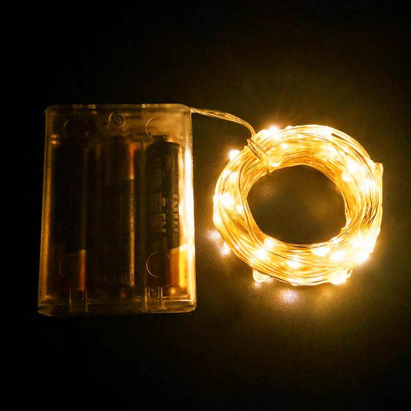 LED سلسلة بطارية إضاءة تعمل 2 متر 3 متر 5 متر 10 متر 12 متر مرنة جارلاند IP65 مقاوم للماء شجرة عيد الميلاد في الهواء الطلق أضواء الجنية الطرف