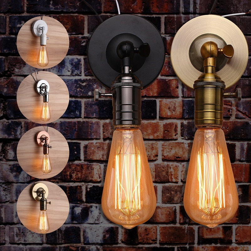 Smuxi E27 Industrial Lamp Base Modern Vintage Retro Antique Ceiling Light Wall Lamp Bulb Base Holder Socket Without Bulb