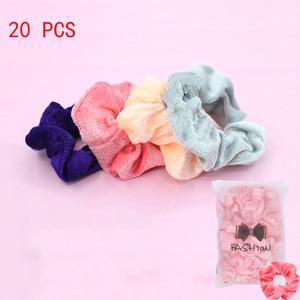 20 Pcs Velvet Scrunchie Pack for Women Hair Accessories Girls Elastic Hair Bands Headwear Cute VSCO Scrunchies Gum 2020 VERVAE