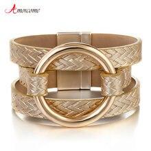 Amorcome Золотые круглые металлические кожаные браслеты для