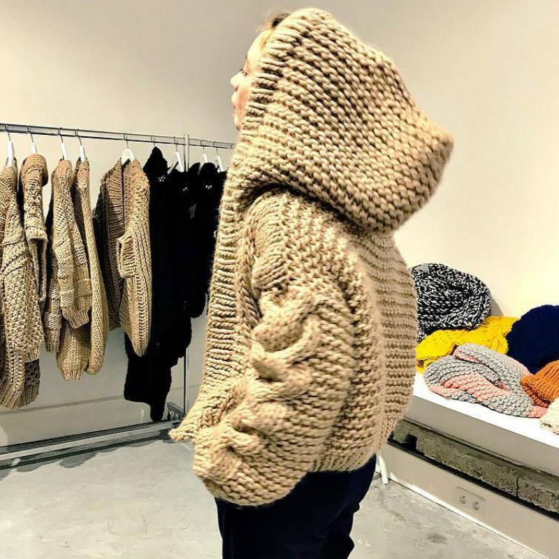 Chic Hooded Cross Twist Flowers Hooked Sweater Cardigan Loose Handmade Coarse Wool Thick Crocheted Knit Jacket Coat Tops Ins