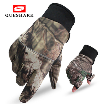 Camouflage Fishing Gloves Hunting Gloves Anti-Slip 2 Fingers Cut Outdoor Camping Cycling Half Finger Sport Gloves Camo 1