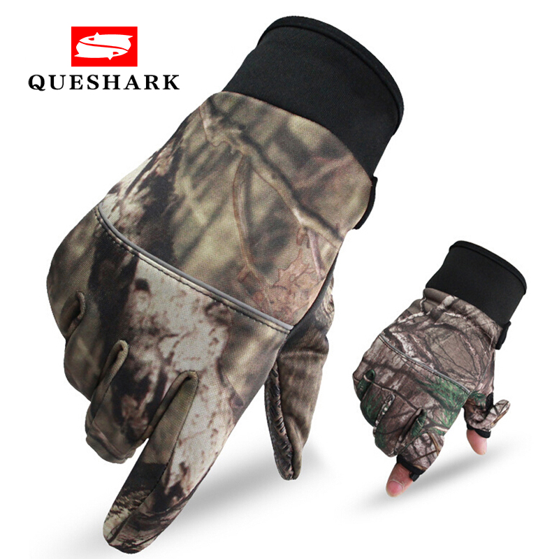 Camouflage Fishing Gloves Hunting Gloves Anti-Slip 2 Fingers Cut Outdoor Camping Cycling Half Finger Sport Gloves Camo