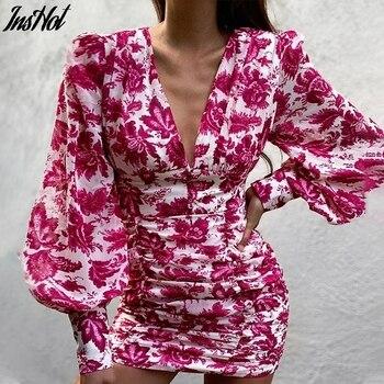 Women Sexy Deep V Neck Floral Print Long Lantern Sleeve Ruched Dress 2021 Summer Elegant Female Bodycon Party Dress Vestido 1