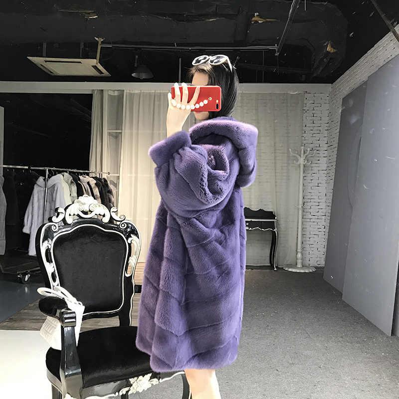 Echt Pelzmantel Frauen Winter Nerz Pelzmantel Dick Plus Größe Jacke Top Qualität Mit Kapuze Outwear Casaco Inverno 1506 MF335