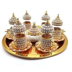 Аутентичные настоящие английские чайные чашки Swarovski для серфинга, стеклянные турецкие кофейные чашки для кофе по-арабски, набор чайных чаше...