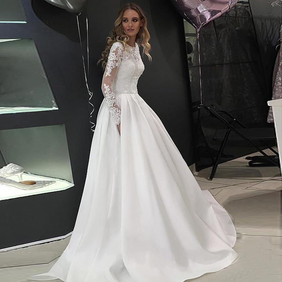 Splendid Tulle High Neckline A line Wedding Dresses Long Sleeves Crystals  Bridal Dress Button Down Wedding Gowns