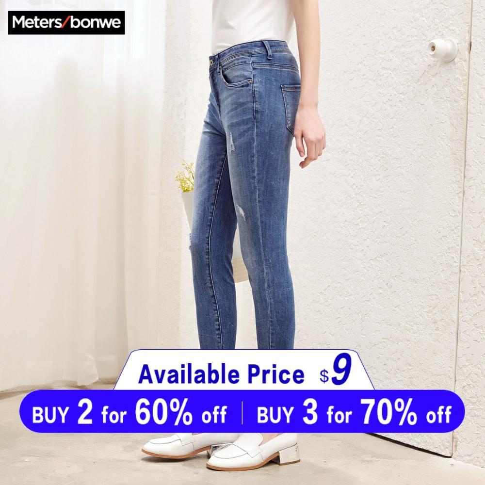Metersbonwe Slim Jeans For Women Jeans Hole Design Woman Blue Denim Pencil Pants Casual High Quality Stretch Waist Women Jeans