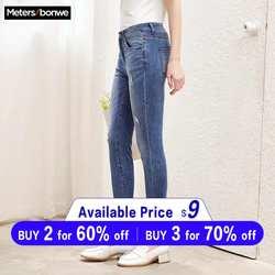 Metersbonwe узкие джинсы для женщин, джинсы с дырками, женские синие джинсовые брюки-карандаш, повседневные, высокое качество, стрейч-Талия