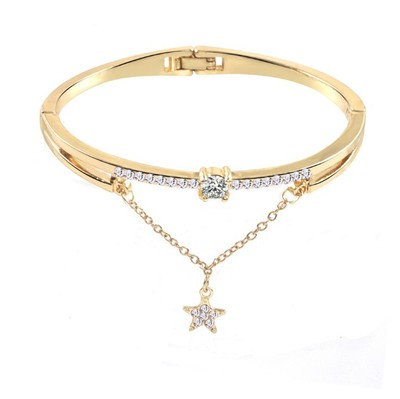 CUTEECO 2019 Hot New Fashion Crystal forever love you Cuff Opening Bracelet For Women Jewelry Gift Mujer Pulseras in Bangles from Jewelry Accessories