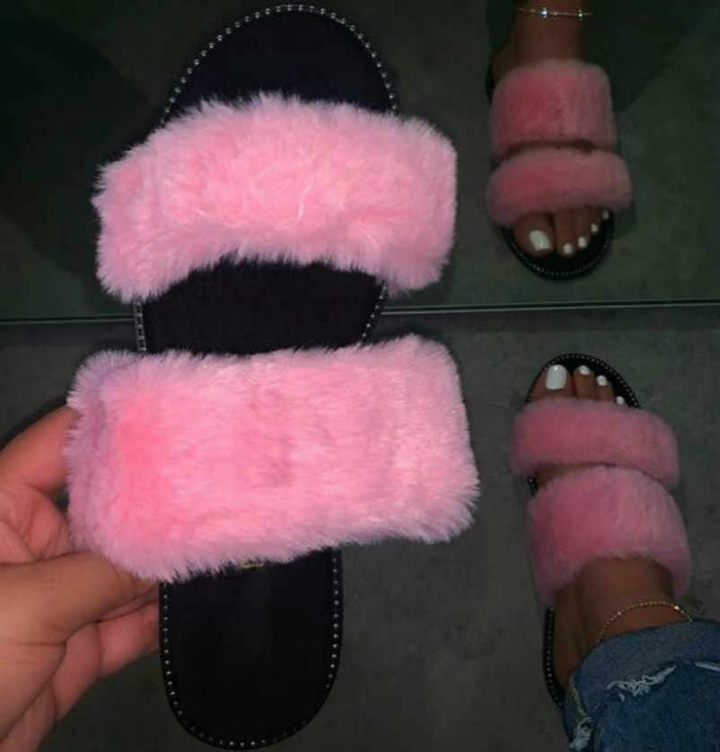 Regenboog Nieuwe 2020 Duurzaam Sandalen Outdoor Wilde Mode Strand Platte Flip Flop Vos Bont Lente Zomer Roze Vrouwen Thuis Harige slippers