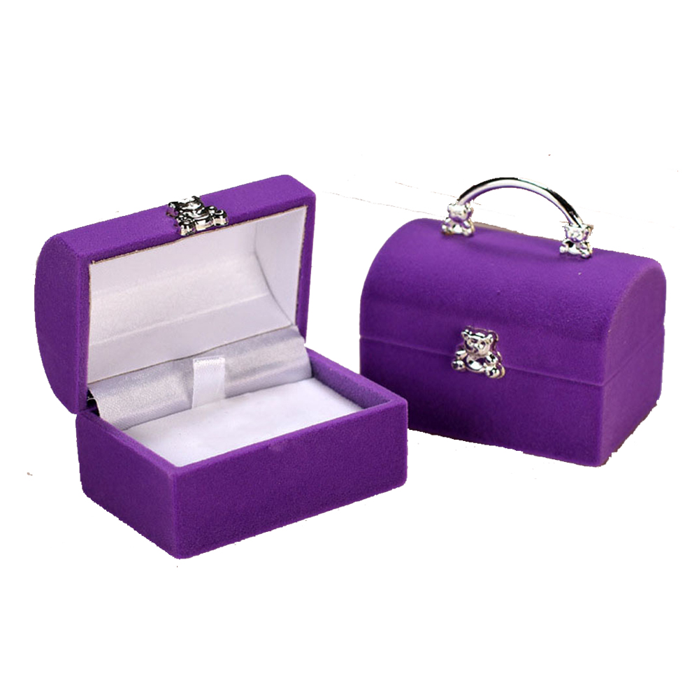 Square Gift Box Velvet Bear Rings Case Women Earrings Rings Luxury Jewelry Packaging Display Make Up Storage Organizer Small Box