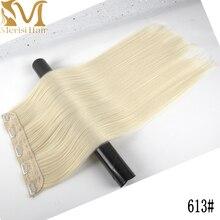 Pelo MERISI 5 Clips Pelo Largo sintético Clip recto en extensiones de cabello falso pelo negro piezas para mujeres