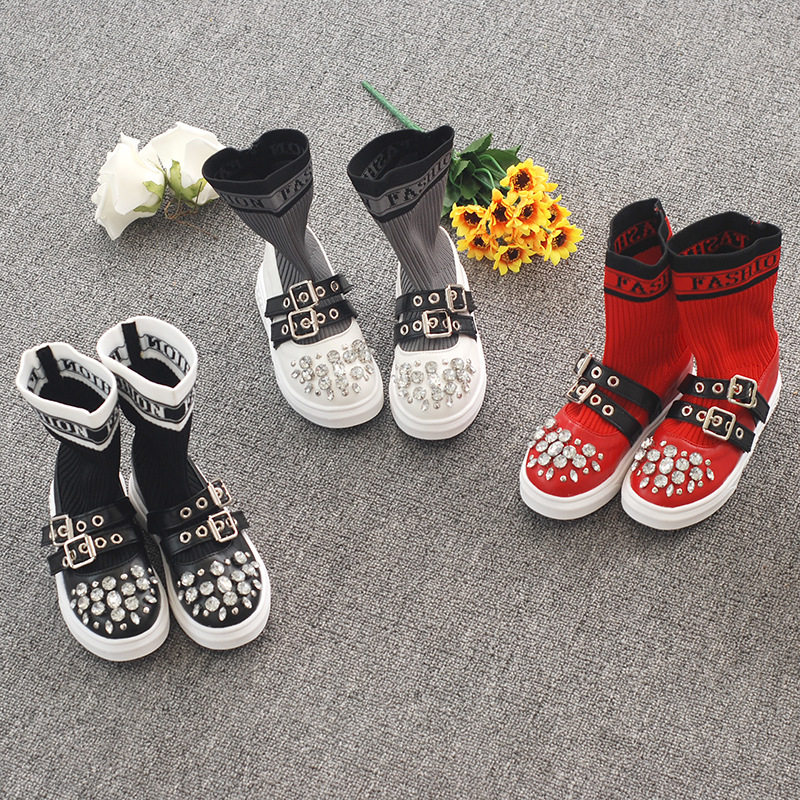 2019New Fashion Flying Woven Children's Socks Shoes Wild Rhinestone Shoes Casual Tube Single Boots
