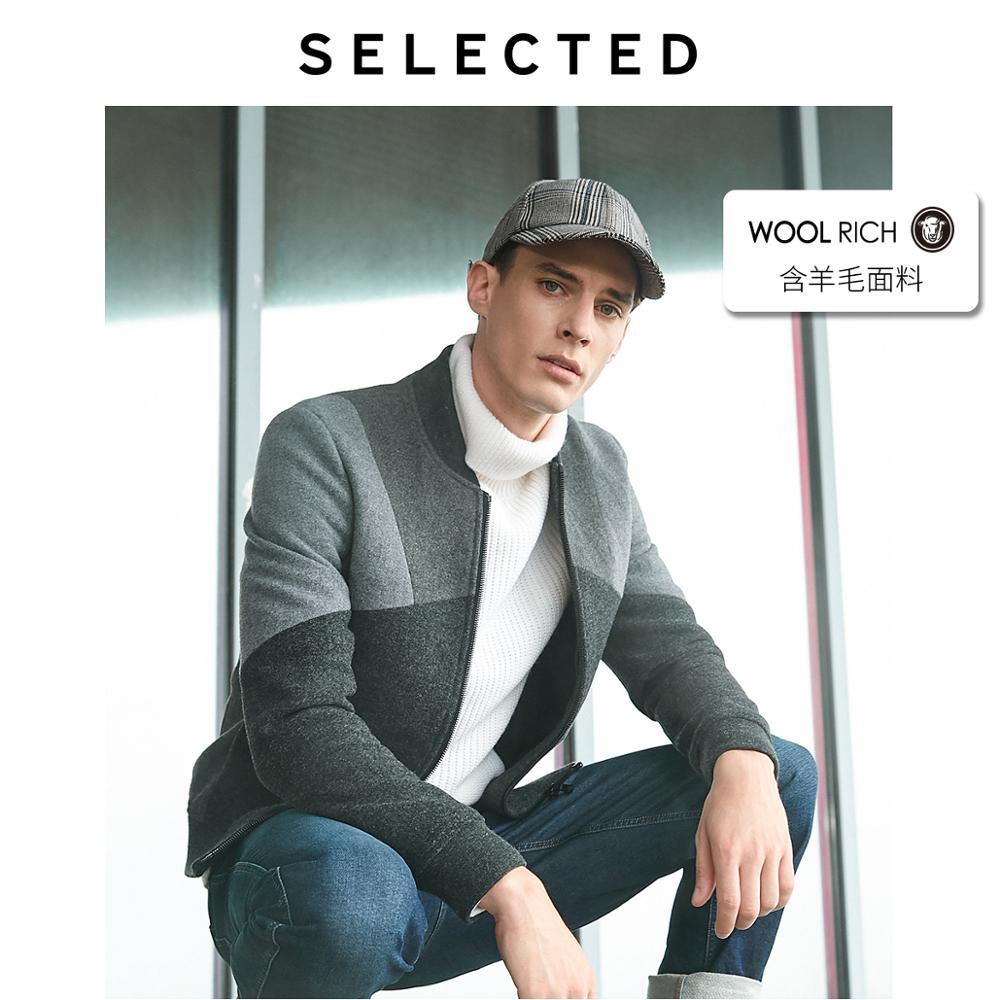 SELECTED Men's Winter Short Woolen Jacket Stylish Splice Wool Outwear Coat S|418427564