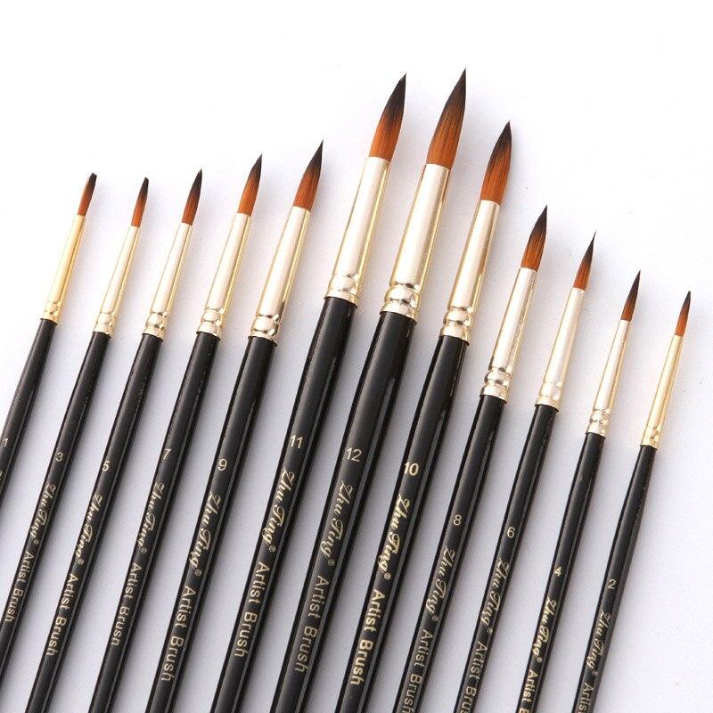 12pcs Tip Head Nylon Watercolor Paint Brushes Gouache Acrylic Painting Brush Pen Pincel Para Pintura Art Supplies