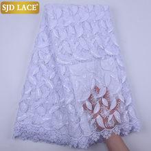 SJD LACE – tissu africain en dentelle de soie blanche Pure, haute qualité, 3D, paillettes de lait, maille française, pour mariage, a1853