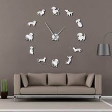 Diy Dachshund Wall Art Wiener-dog Puppy Dog Pet Frameless Giant Clock With Mirror Effect Sausage Large Watch