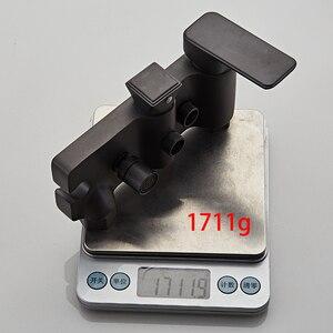 Image 5 - Mezclador de ducha de bronce de lujo, mezclador de ducha de lluvia, estante plano grande, pistola de grifo de ducha de bañera de metal, ducha de latón frío y caliente