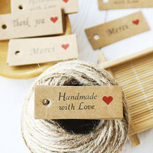 Étiquettes de remerciement rectangulaires en papier Kraft rouge, 100 pièces, pour cadeaux de mariage, emballage de bonbons et cookies, Diy