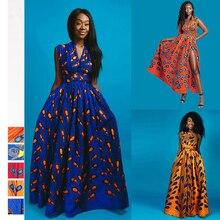 Летние африканские платья для женщин Новости Мода балахон длинное платье цветочный принт Базен Vestidos Дашики вечерние одежда в африканском стиле