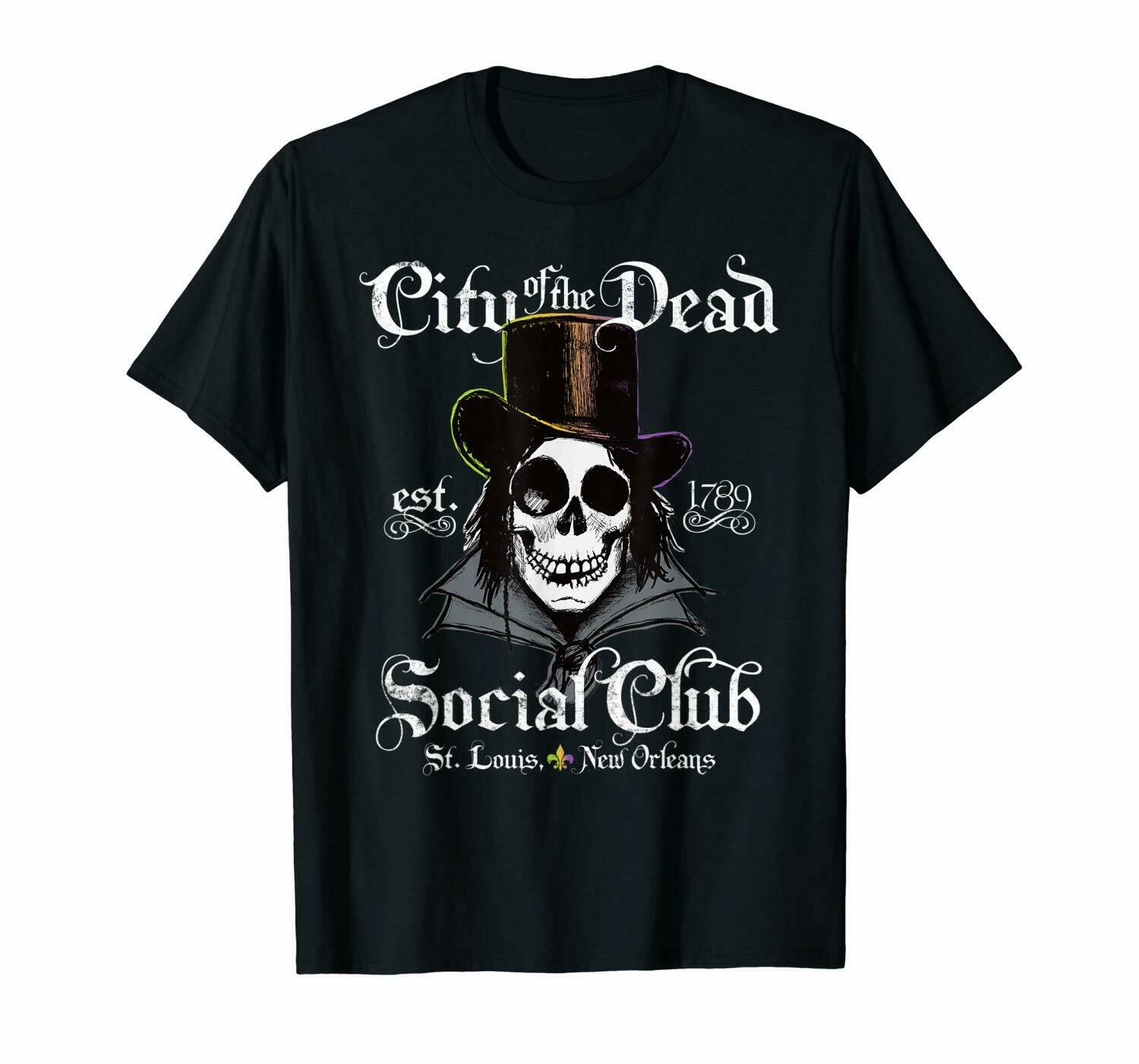 City Of Dead New Orleans Voodoo Doctor Goth Skull Halloween Black T-Shirt S-6XL image