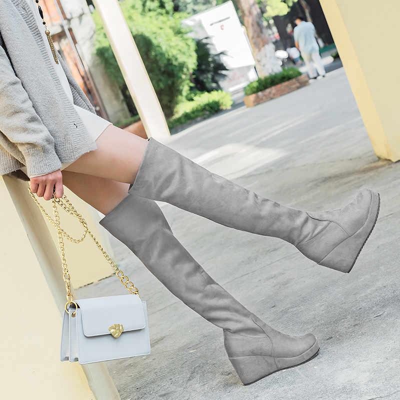 Asumer2020 ใหม่เข่ารองเท้าผู้หญิงรอบ Toe SLIP บนรองเท้าฤดูใบไม้ร่วงฤดูหนาวแพลตฟอร์ม Wedges รองเท้าส้นสูง PROM รองเท้าขนาดใหญ่