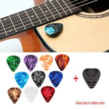 10 Pcs Guitar Picks & Guitar Pick Holder Set for Acoustic Guitar Electric Guitar Bass Ukulele Stick-on Holder Picks Random Color portable pu leather guitar pick cases key chain style guitar picks plectrums bag holder guitar accessories