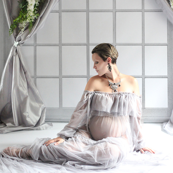 High Quality Sexy Maternity Photography Props Maxi Pregnancy Gown Mesh Clothes Maternity Dress Photo Shooting Baby Shower Gift