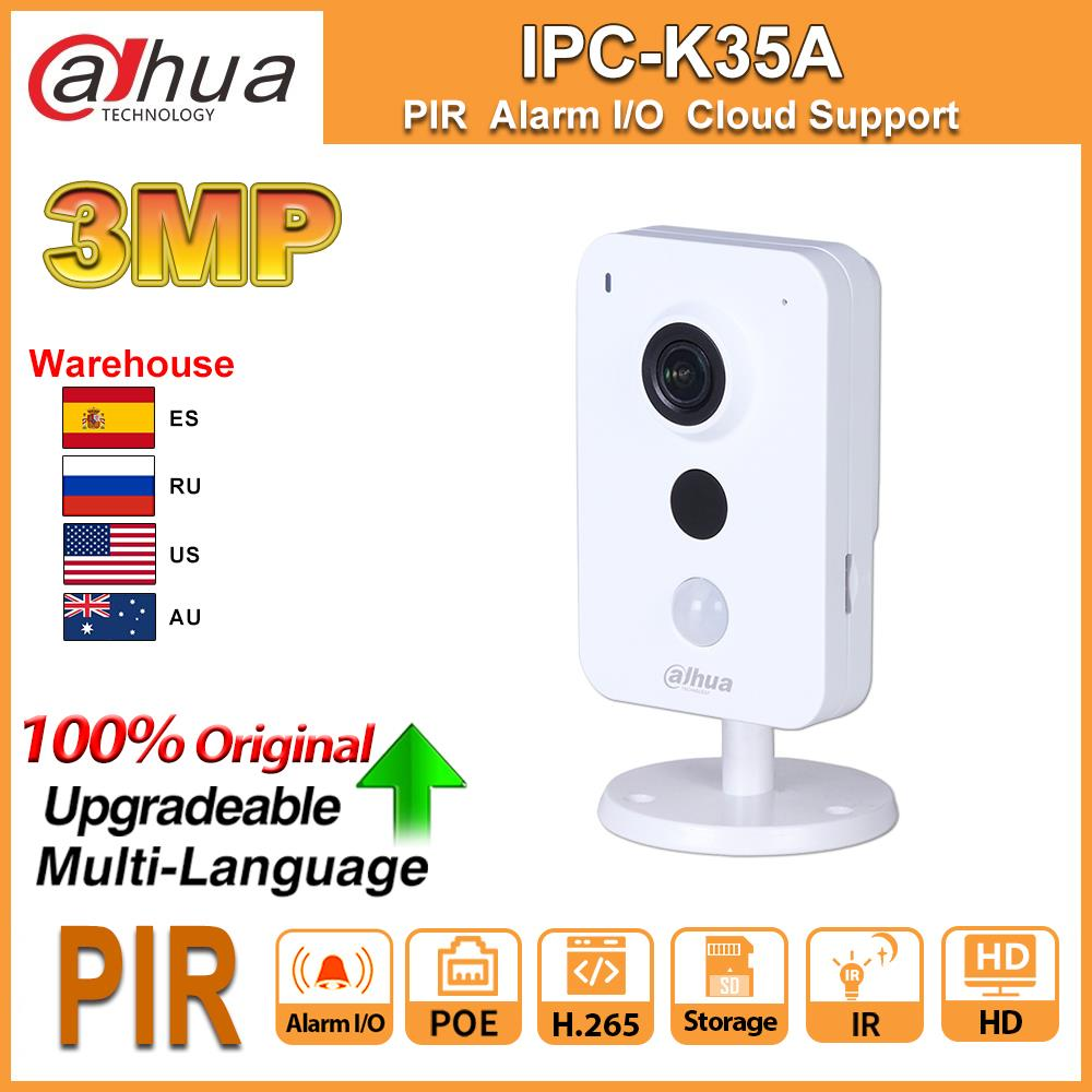 Original Dahua IPC-K35A 3MP HD POE Camera IP Alarm I/O PIR Smart IR 2-Way Audio CCTV Mini IP Camera Security Cloud SD Card Slot