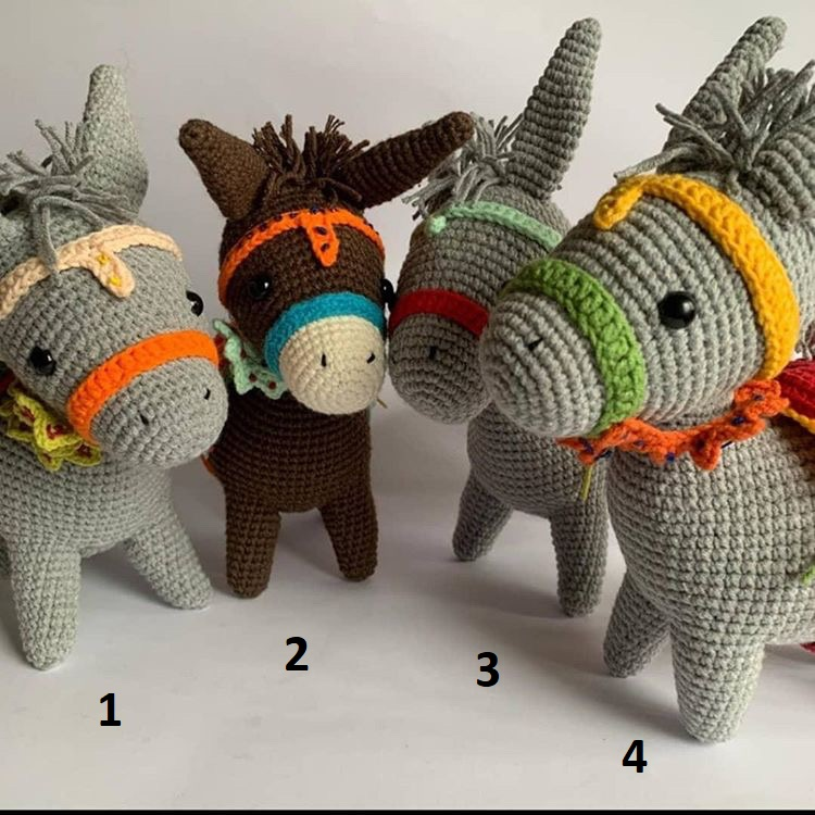 10 inches Knitted Stuffed Donkey, Handmade Toy,