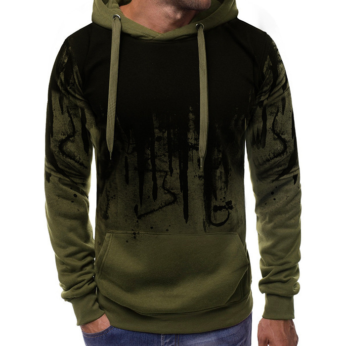 Man Warm Knitted Hooded Sweater Ink Printing Leisure Long Sleeve Hoodie Even Hat Sports Shirt Loose Coat Slim Cotton Jumper