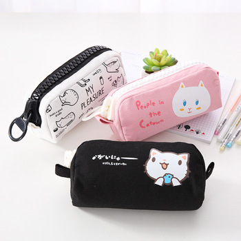 Korean Stationery Pencil Case with Big Zipper Cute Pencil Pouch Large Capacity Pen Bag for Student School Office Supplies bag zipper pencil case twill canvas large pen box pencil bag for student school stationery supplies