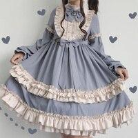 Autumn and Winter New Daily Kawaii Dress Japanese Lolita Sweet Cocoa Milkshake OP Long Sleeve dress Young Girl Princess Dress