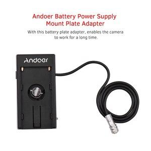 Image 4 - Andoer Blackmagic קולנוע המצלמה BMPCC 4K אספקת חשמל הר צלחת מתאם עם אביב כבל עבור Sony NP F970 F750 F550 סוללה