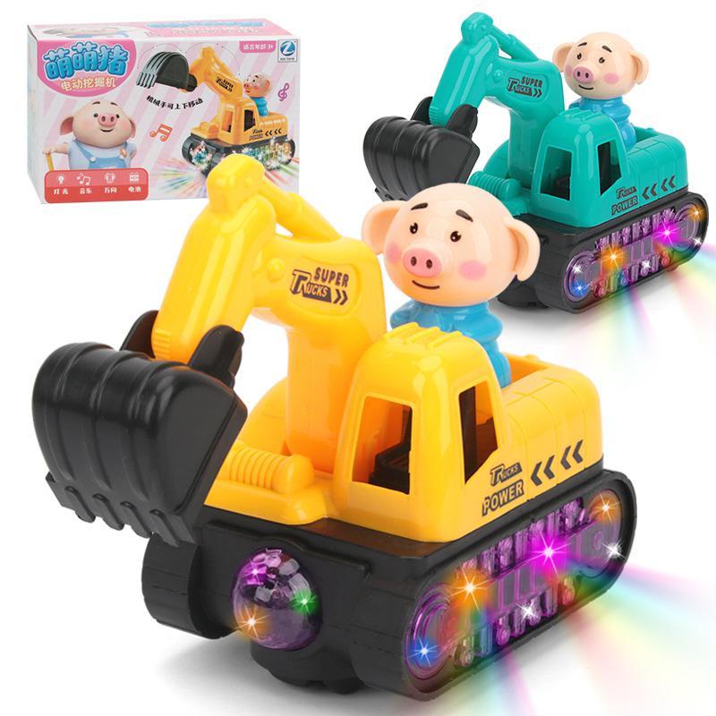 RCtown Electric Universal Excavator Model Light Music Cartoon Engineering Model Toy