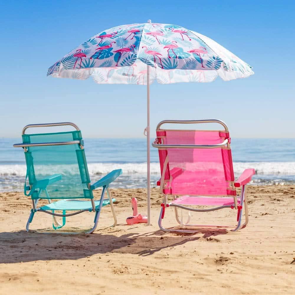 Tilt mechanism beach umbrella octagonal polyester 220 cm diameter arch umbrella