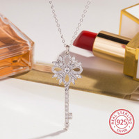 925 sterling silver female necklace pendant fashion personality key styling jewelry hot birthday gift 2019 new hot