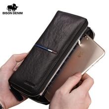 ביזון ינס אמיתי עור ארוך רוכסן ארנק גדול קיבולת טלפון ארנק זכר יוקרה מותג מצמד ארנק אופנה N8150