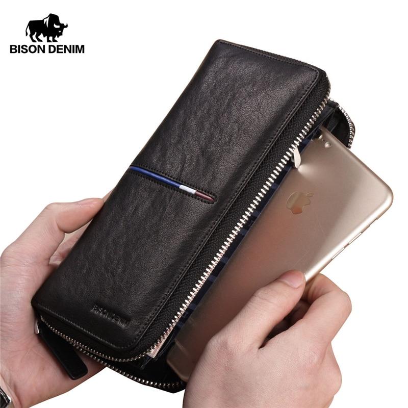 BISON DENIM Genuine Leather Long Zipper Wallet Large Capacity Phone Purse Male Luxury Brand Clutch Wallet Fashion N8150