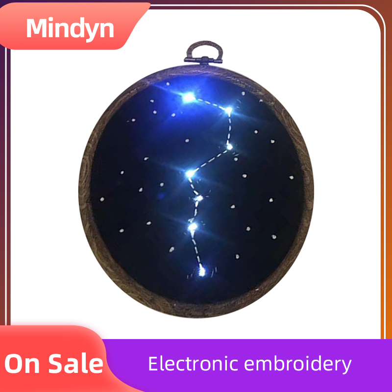 Handmade Electronic Embroidery Material Package Cute Glowing Starry Sky Pattern DIY Gift Home Store Multi-occupation Decoration