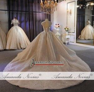 Image 4 - فستان زفاف فاخر ثقيل مطرز بالخرز الشمبانيا دبي فستان الزفاف 2020 صورة عمل حقيقية
