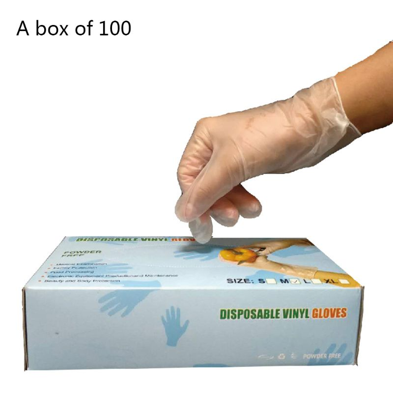 100 Pcs/Box Disposable Clear Food-Grade Plastic Gloves For Men Women Kitchen Cooking Cleaning Safety Food Handling S/M/L/XL
